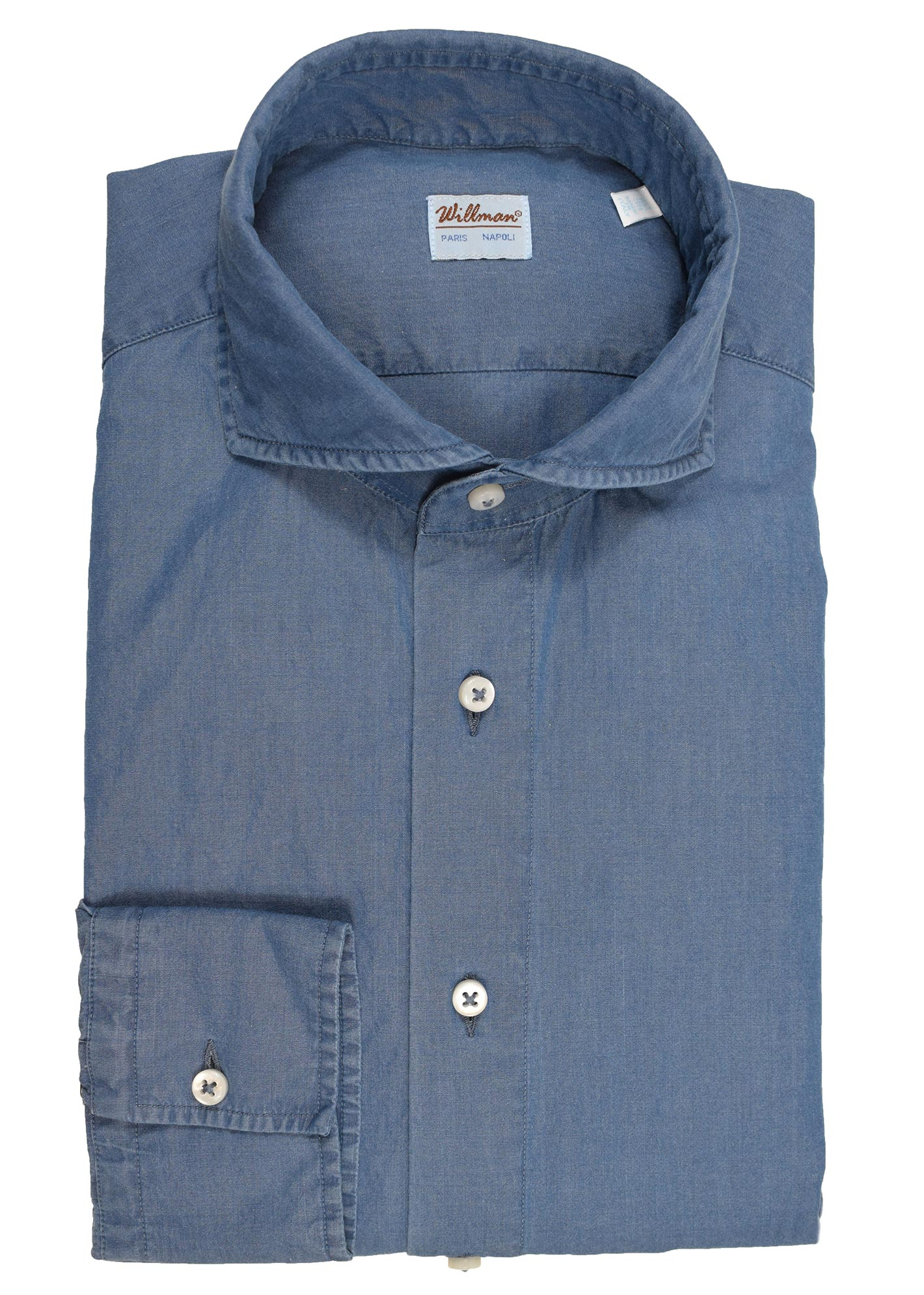 23WCH - Chemise coton chambray bleue