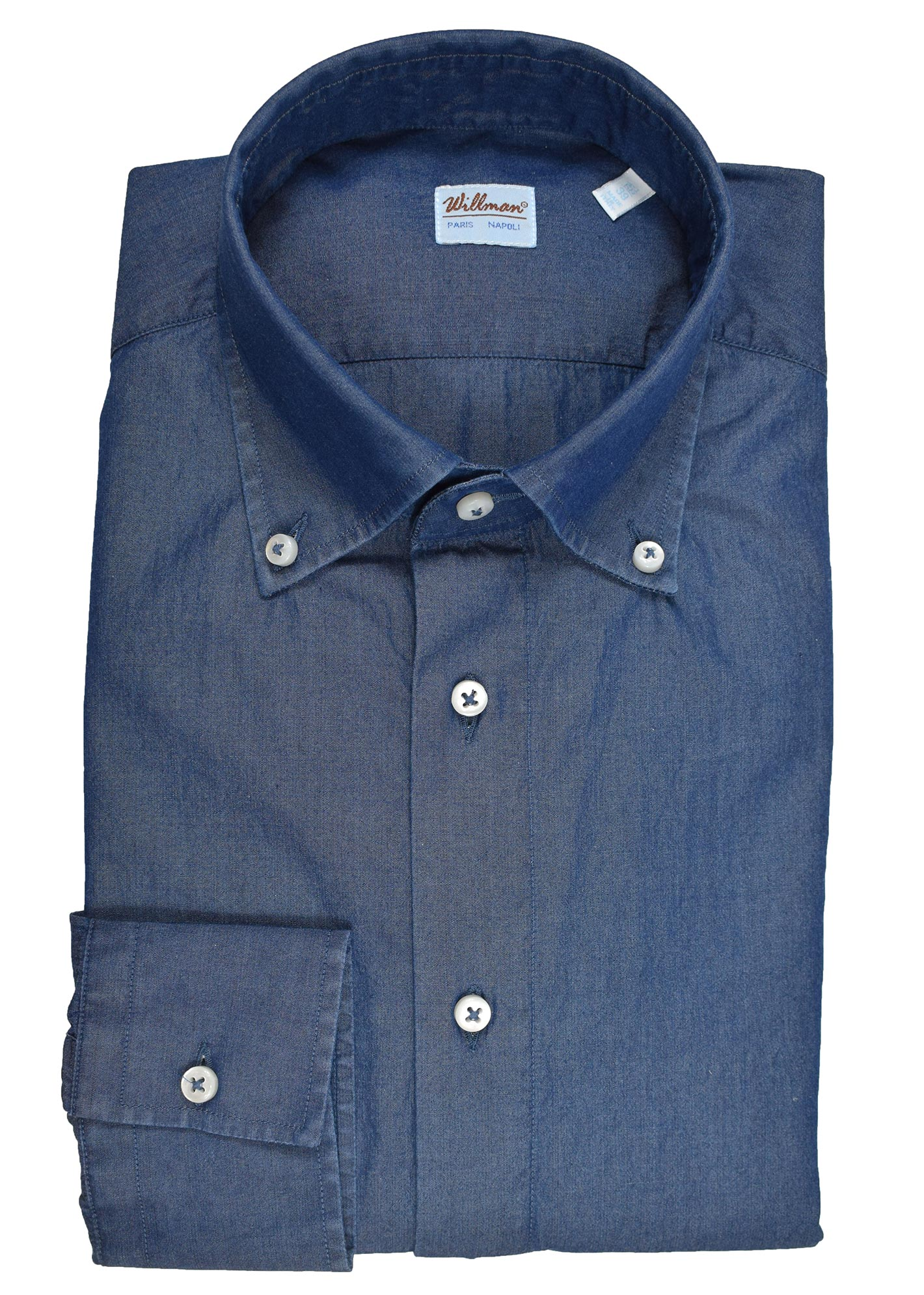 24WCH - Chemise coton chambray brute col boutonné